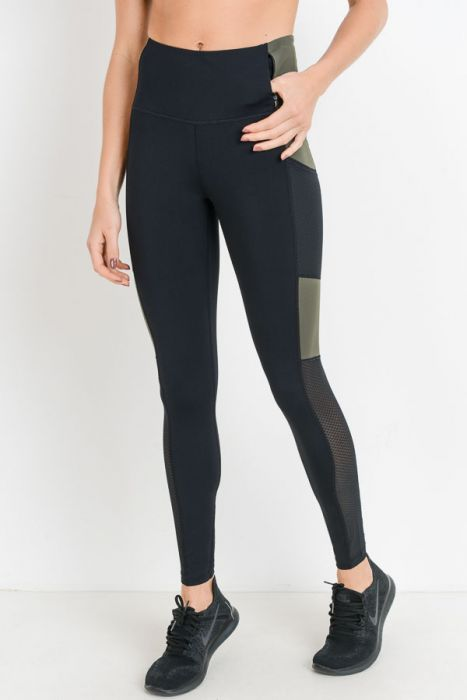 Highwaist Army Green Colorblock Full Leggings