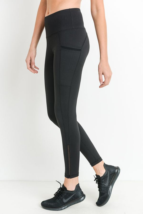MONO B Highwaist Side-Mesh & Slit Full Leggings