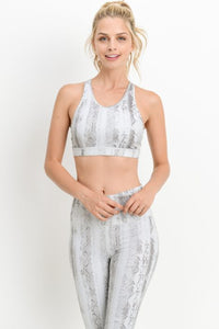 Serpentine Print Low Racerback Sports Bra
