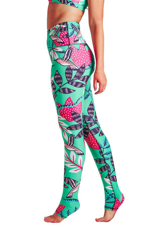 Yoga Democracy Women's Eco-friendly yoga full length leggings in Early Bird green with hummingbirds print. USA made from post-consumer recycled plastic bottles. Sweat wicking, anti-microbial, and quick dry ultra-soft brushed fabric.