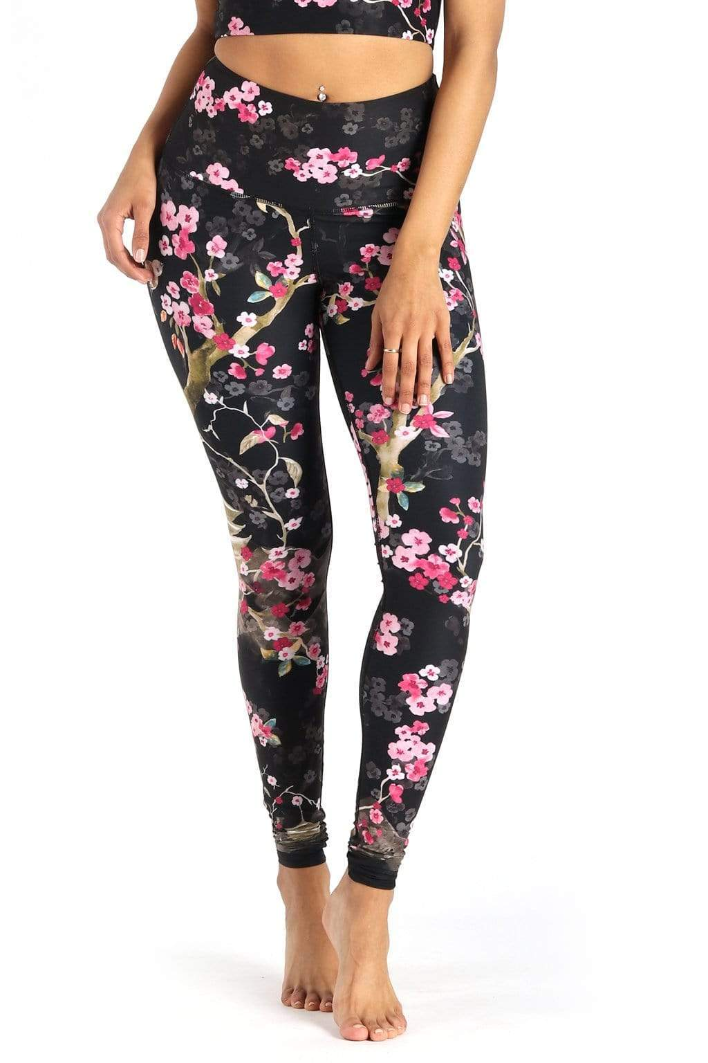 Yoga Democracy Leggings Cherry Bloomin Printed Yoga Leggings