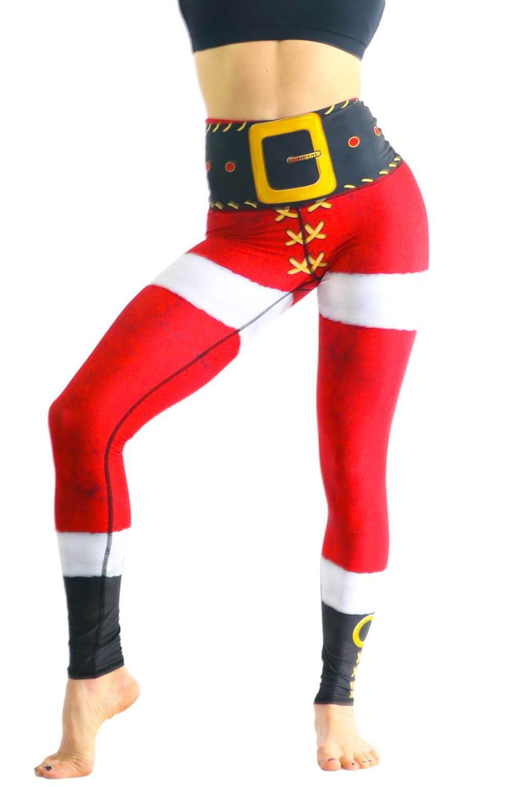 Yoga Democracy Squat Proof leggings in SantaCon Eco-friendly print