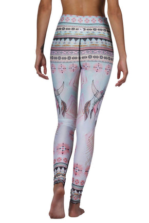Yoga Democracy Women's eco-friendly yoga pant Leggings in Dreamweaver Print made from post consumer recycled plastic