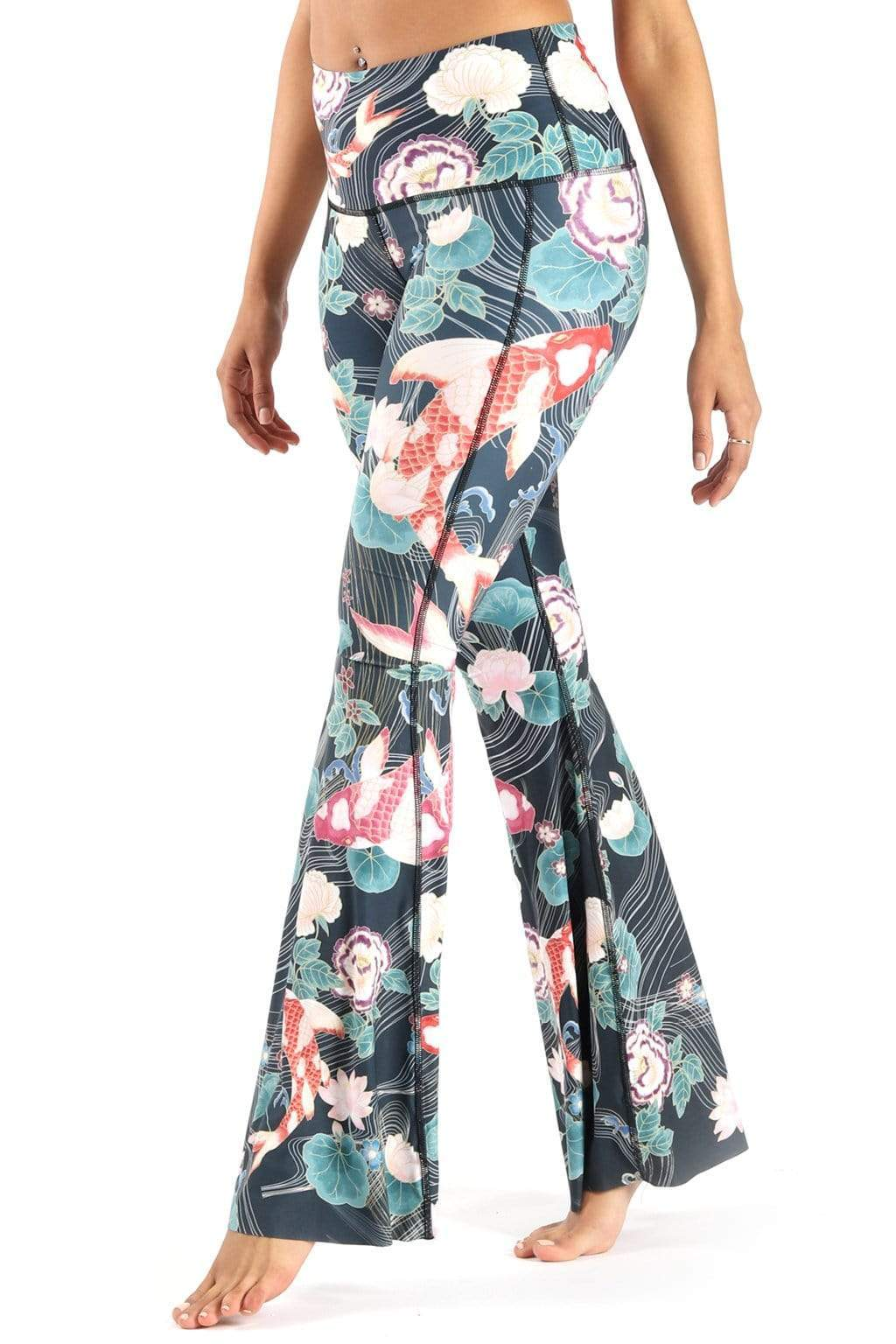 Yoga Democracy Leggings Clever Koi Printed Bell Bottoms