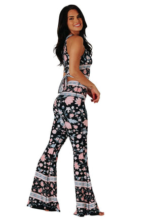 Yoga Democracy Women's eco-friendly bell bottom flare leggings printed in  Cotton Candy Wreath