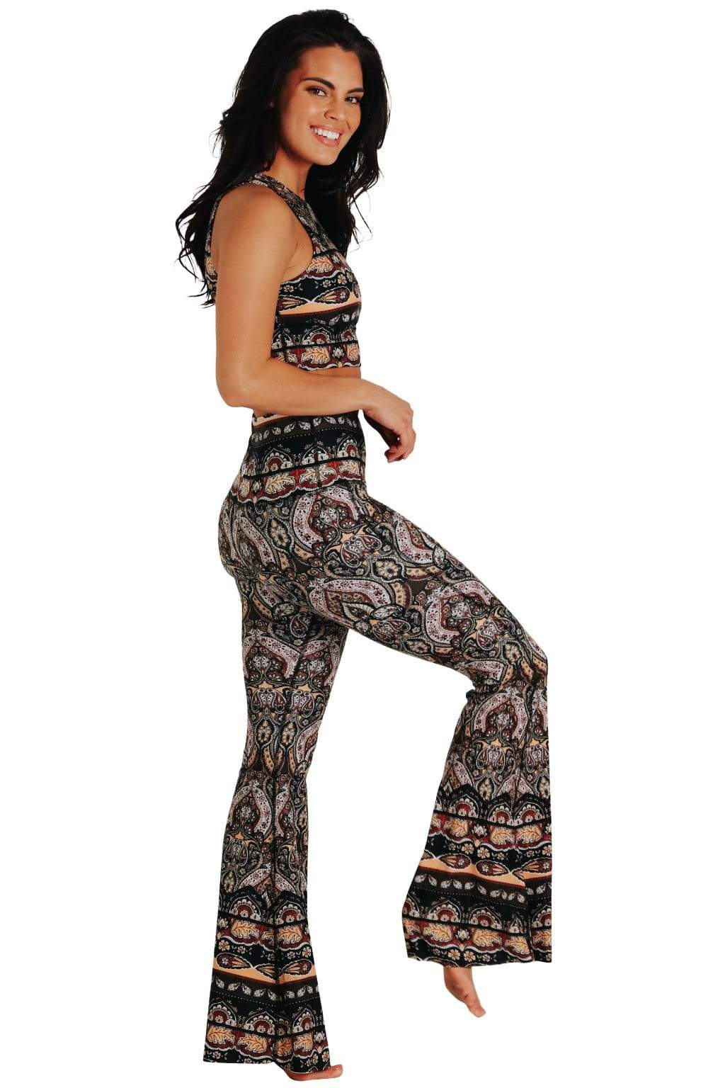Yoga Democracy Women's eco-friendly bell bottom flare leggings printed in  Espresso Yourself