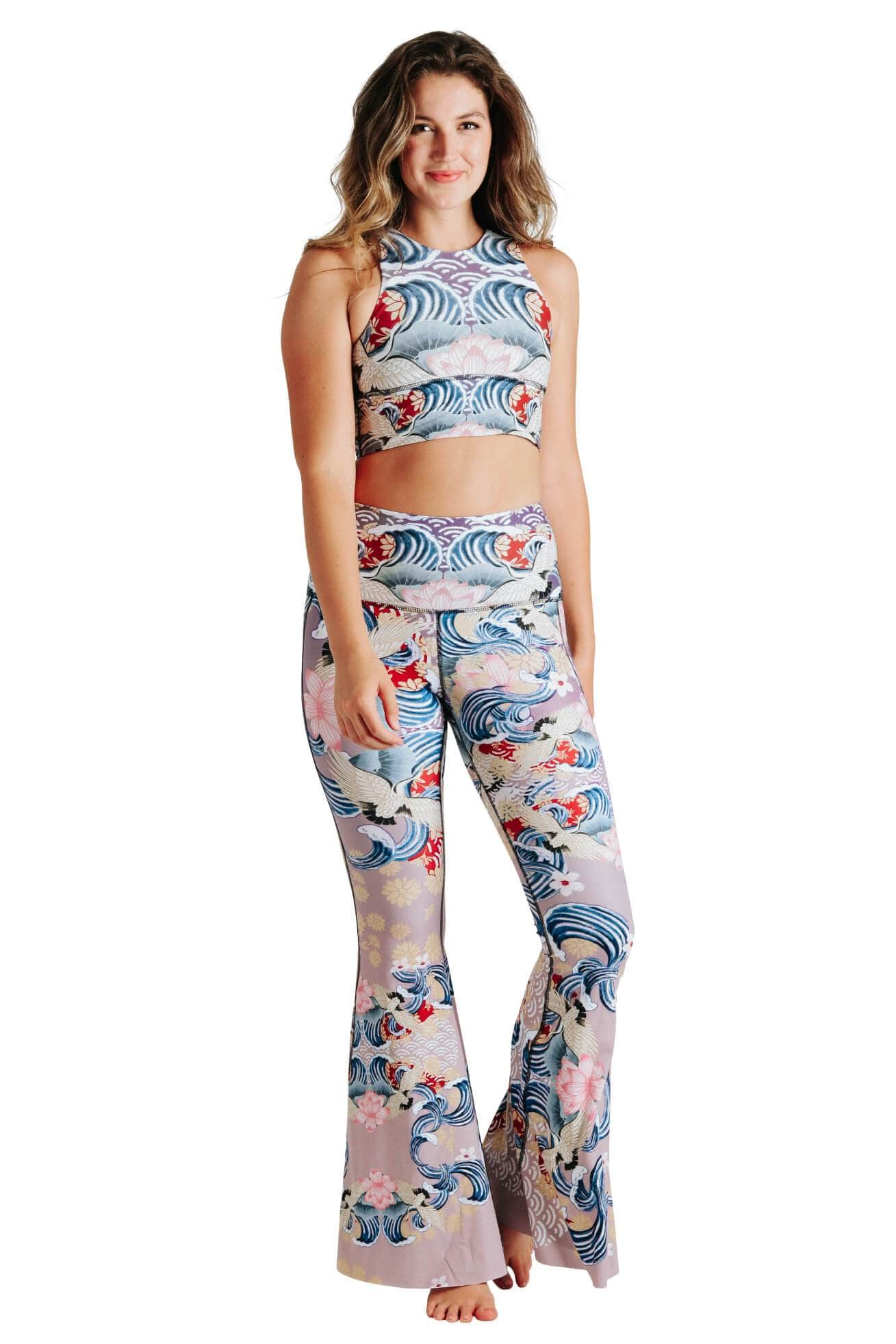 Yoga Democracy women's Eco-friendly bell bottom flare leggings in Zen Water Garden asia inspired print. USA made from post consumer recycled plastic bottles