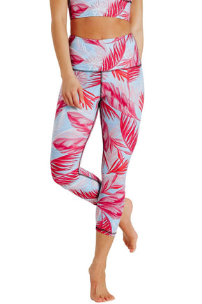 Yoga Democracy Women's Eco-friendly yoga capris crop leggings in Hot Tropic flamingo pink and blue print. USA made from post-consumer recycled plastic bottles. Sweat wicking, anti-microbial, and quick dry ultra-soft brushed fabric.