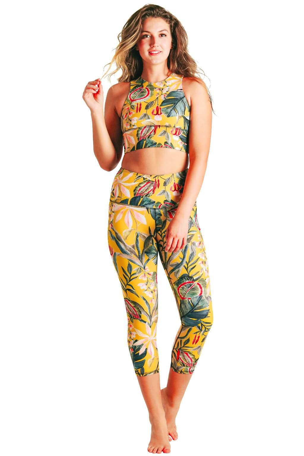 Curry Up Printed Yoga Crops