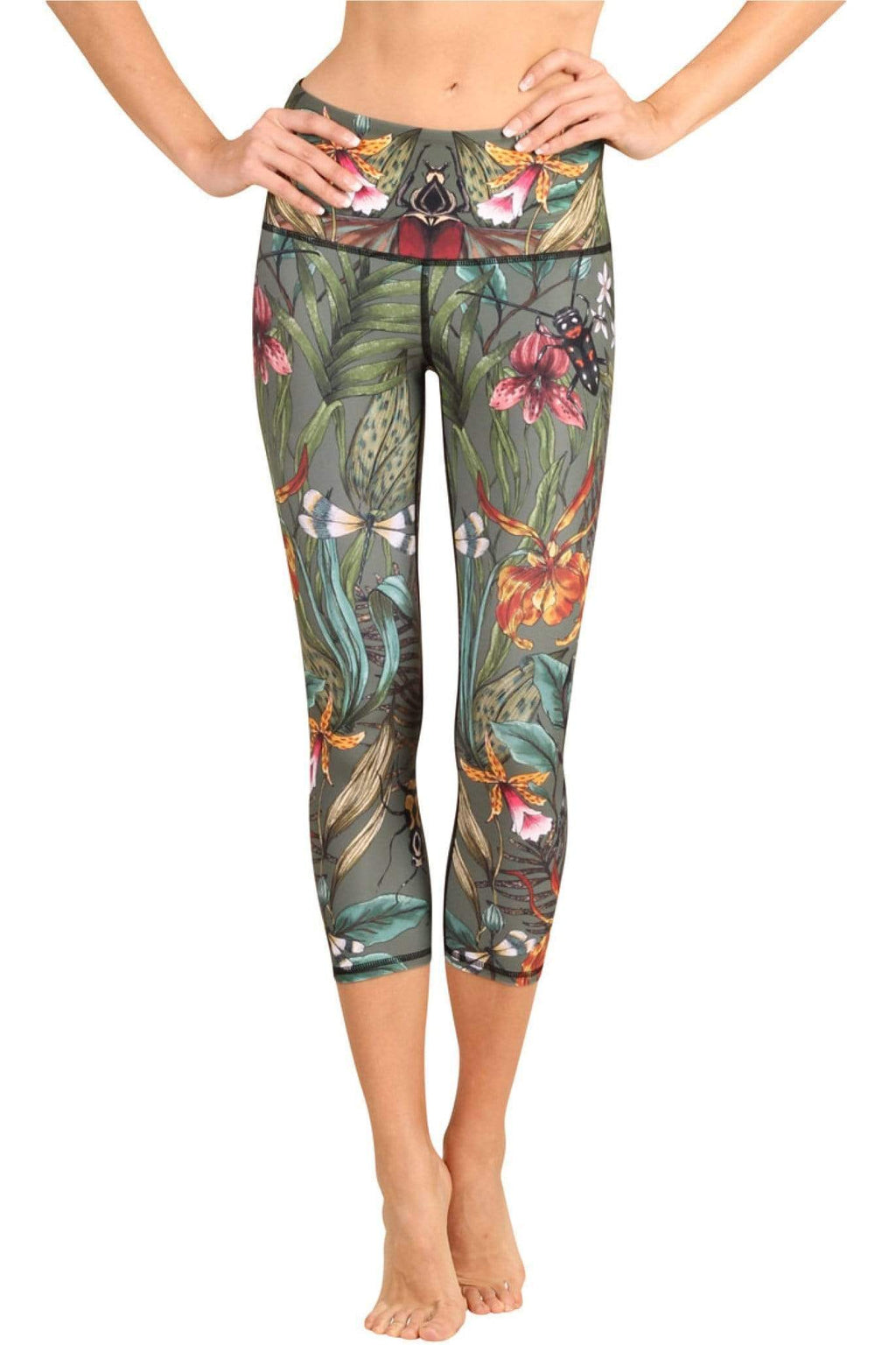 Yoga Democracy Leggings Green Thumb Printed Yoga Crops