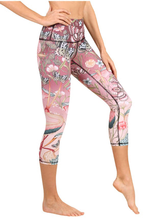 Yoga Democracy Women's Eco-friendly yoga crop Leggings in Pretty in Pink Print made from post consumer recycled plastic