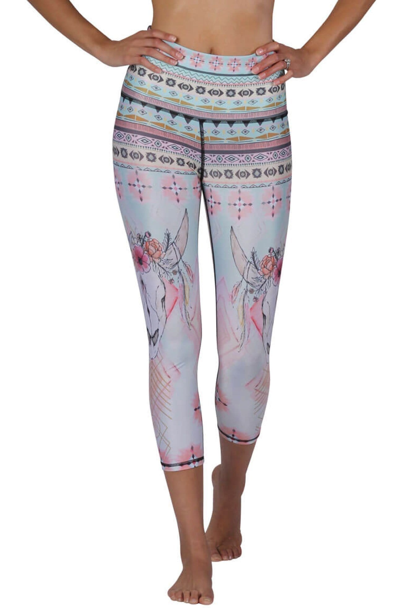 Yoga Democracy Women's Eco-friendly yoga crop Leggings in Dream Weaver Print made from post consumer recycled plastic