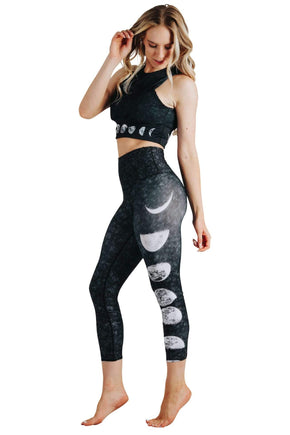 Yoga Democracy Leggings Just a Dark Moon Phase Printed Yoga Crop