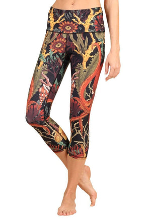 Yoga Democracy Leggings Coral My Name Printed Yoga Crops