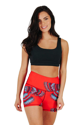 Yoga Democracy Women's Eco-friendly hot yoga Joey Shorts in Bright Flight print made from post consumer recycled plastics