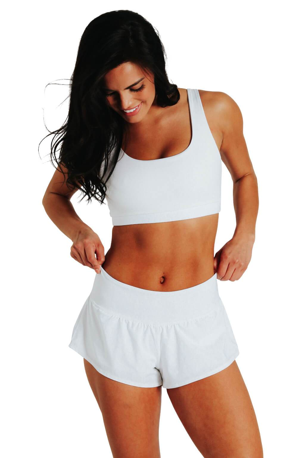 Yoga Democracy women's Eco-friendly activewear Flow Shorts in White color made from post consumer recycled plastic bottles with 3 inch inseam and built-in panty liner. Great running, jogging workout shorts.