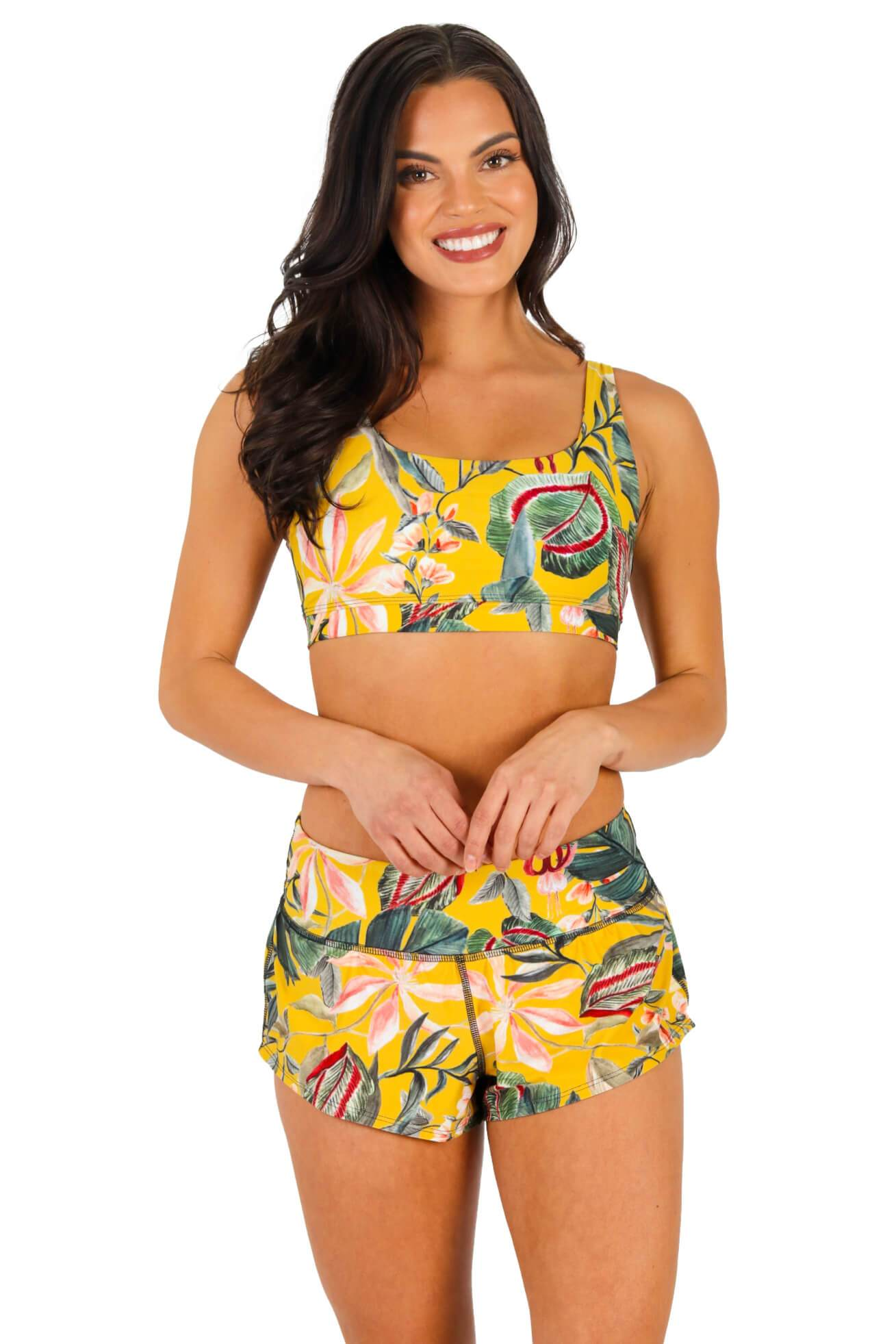 Yoga Democracy Women's Eco-friendly flow everyday running Shorts with 3 inch inseam and low-rise waistband in Curry Up yellow floral color print made from post consumer recycled plastics