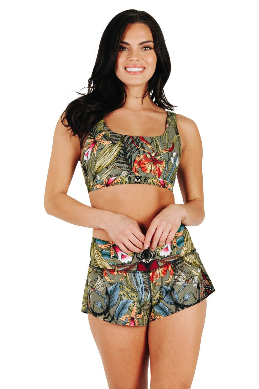 Yoga Democracy Women's Eco-friendly flow everyday running Shorts with 3 inch inseam and low-rise waistband in Green Thumb bugs print made from post consumer recycled plastics
