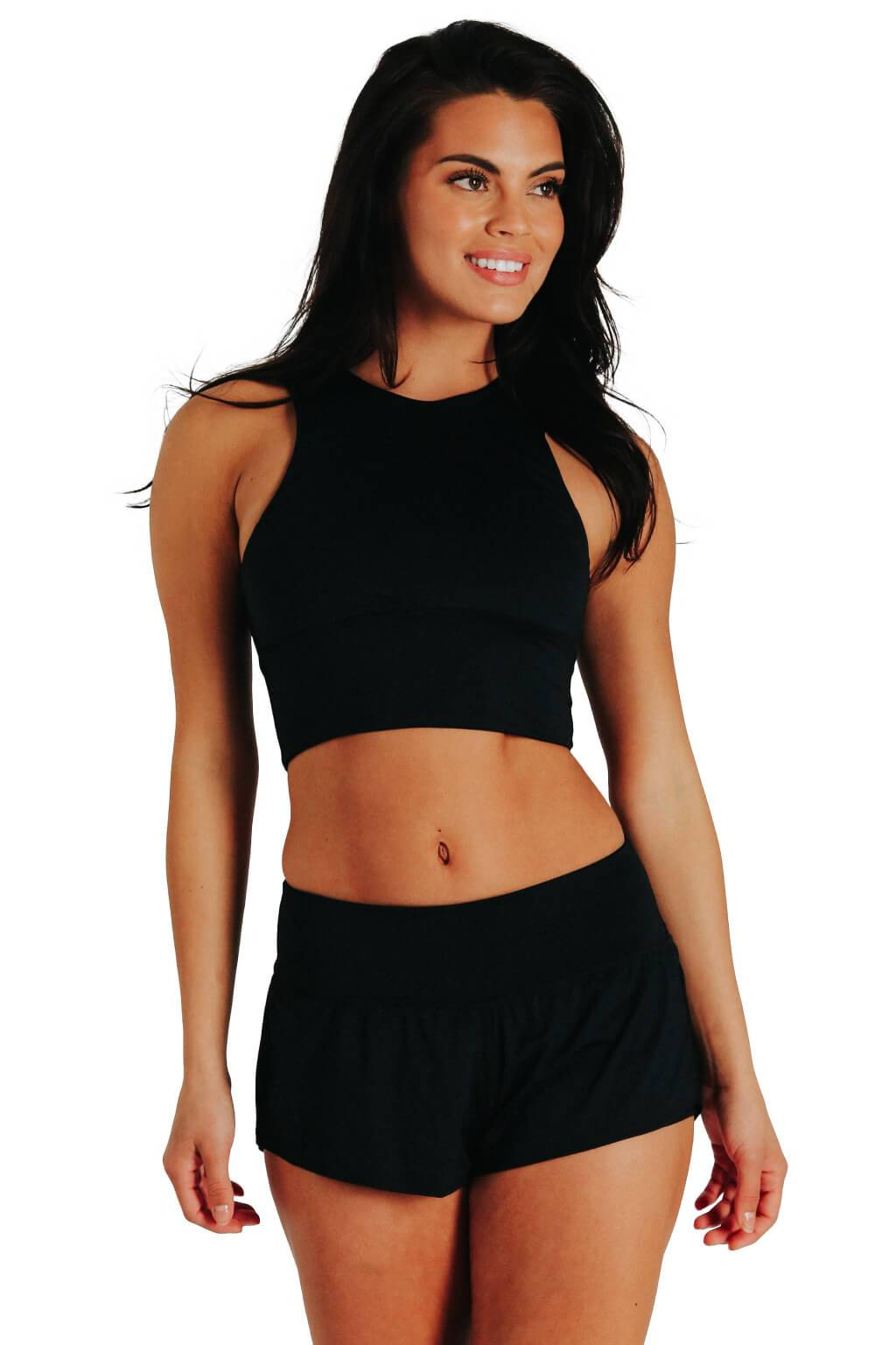 Yoga Democracy Women's Eco-friendly Free Range yoga sports Bra in Jet Black made in the USA from post consumer recycled plastic bottles