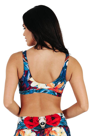 Yoga Democracy Women's Eco-friendly Medium Support Everyday yoga sports Bra in Georgia O,keeffe bugs print made in the USA from post consumer recycled plastic