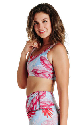 Yoga Democracy Women's Eco-friendly Medium Support Everyday yoga sports Bra in Hot Tropic print made in the USA from post consumer recycled plastic