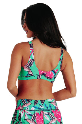 Yoga Democracy Women's Eco-friendly Medium Support Everyday yoga sports Bra in Early bird humming bird printed fabric made in the USA from post consumer recycled plastic