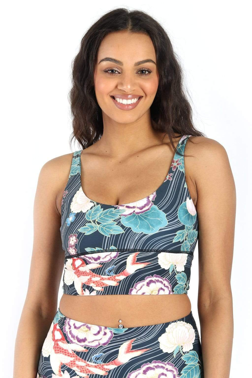 Yoge Democracy Sports Bra Clever Koi Print Limitless Sports Bra