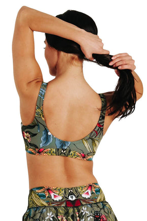 Yoga Democracy Women's Eco-friendly Medium Support Everyday yoga sports Bra in Green Thumb bugs print made in the USA from post consumer recycled plastic
