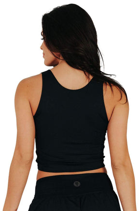 Yoga Democracy Women's Eco-friendly Reversible Knot yoga top in Jet black color. USA made from post consumer recycled plastic bottles