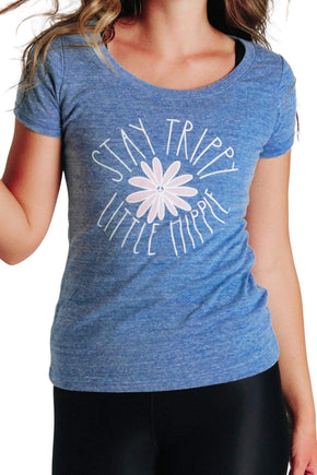 Yoga Democracy Graphic Top Stay Trippy Little Hippie - Eco Scoop Neck Tee