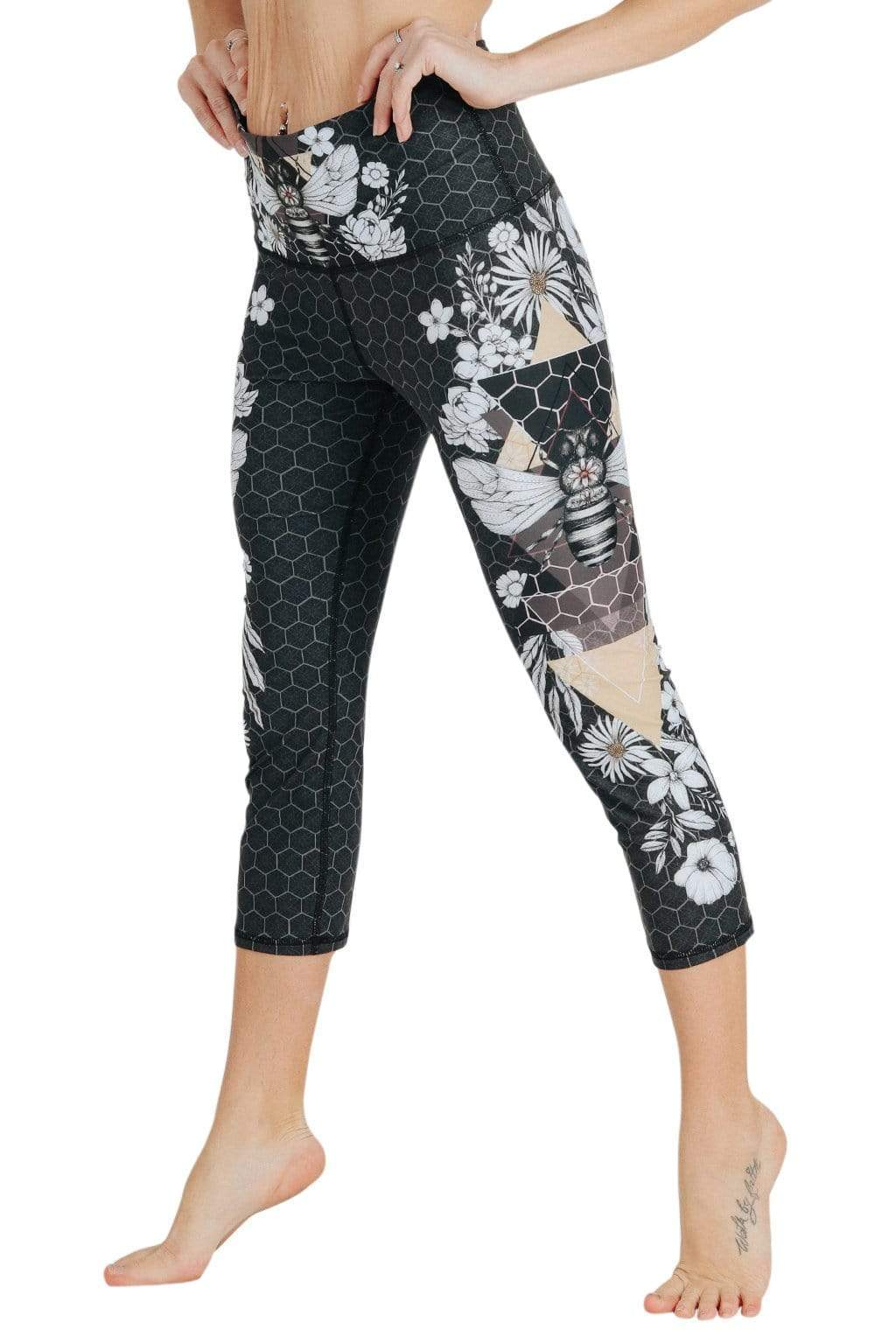 Yoga Democracy Leggings Beeloved Blackout Printed Yoga Crops