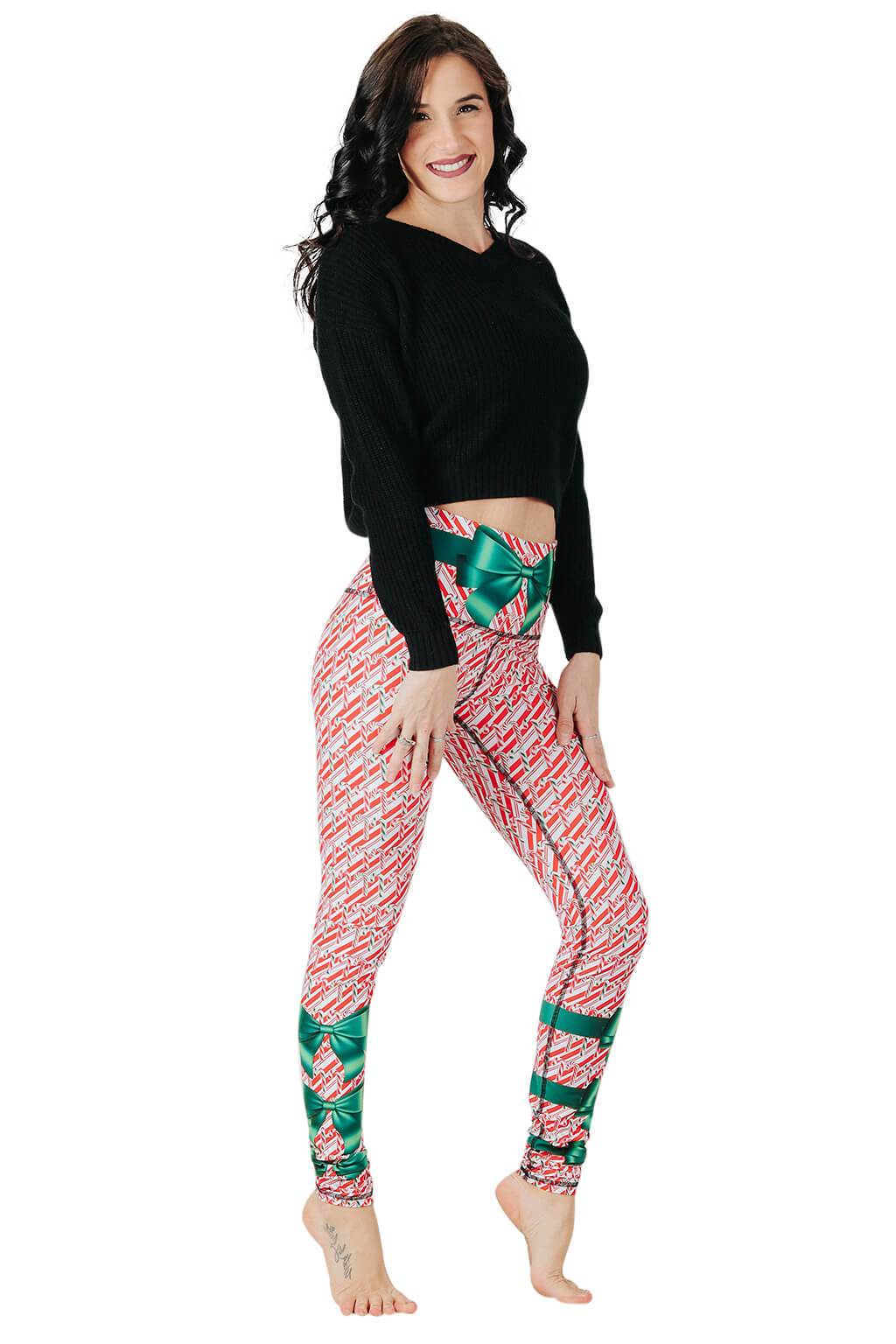 Yoga Democracy Leggings Candy Cane Madness Printed Yoga Leggings