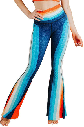 Yoga Democracy Leggings Retro Rainbow Printed Bell Bottoms