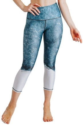 Yoga Democracy Leggings Sky Silhouette Printed Yoga Crops