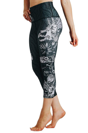 Yoga Democracy Leggings Fossil Chic Printed Yoga Crops