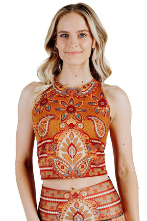 Yoga Democracy Tops Reversible Knot Top in Rad Paisley