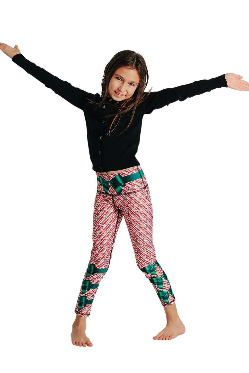 Yoga Democracy Girls Leggings Kids Candy Cane Madness Yoga Leggings