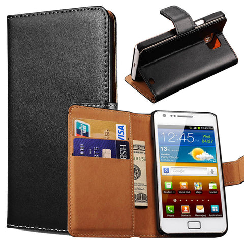 Wallet Stand Genuine Leather Case For Samsung Galaxy S2