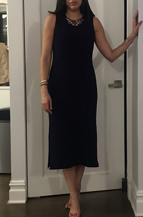 Adele stretch knit navy midi sheath work dress by hutch customer image