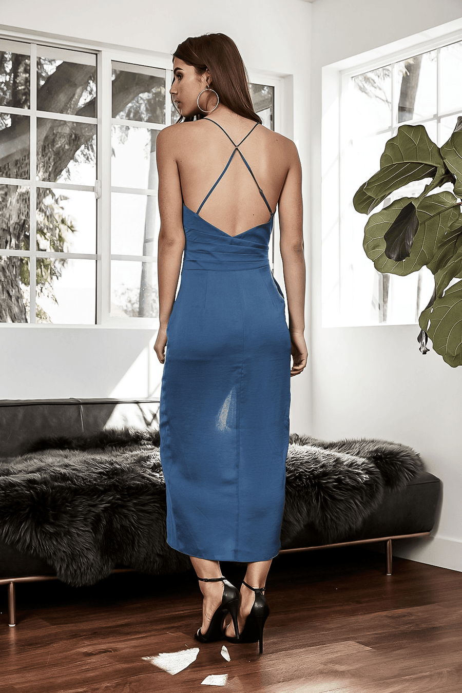 FRANCESCA BLUE SATEEN FAUX WRAP OPEN-BACK MIDI DRESS