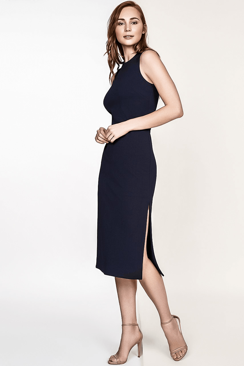ADELE NAVY MIDI KNIT SHEATH DRESS