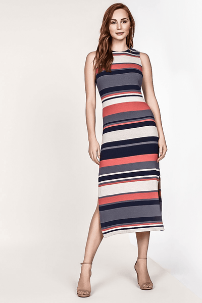 ADELE STRIPE MIDI KNIT SHEATH DRESS