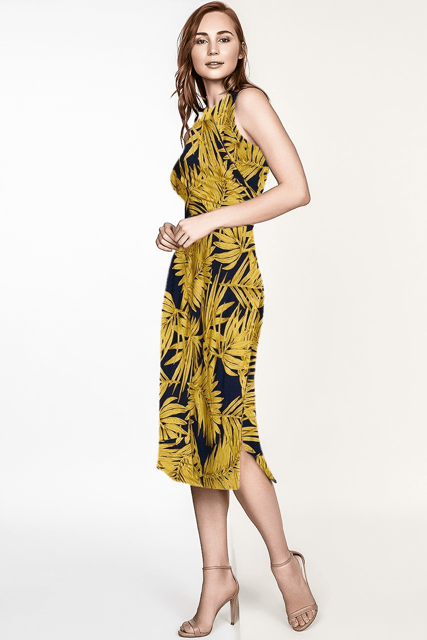 TROPIC PRINT ADELE KNITTED MIDI DRESS