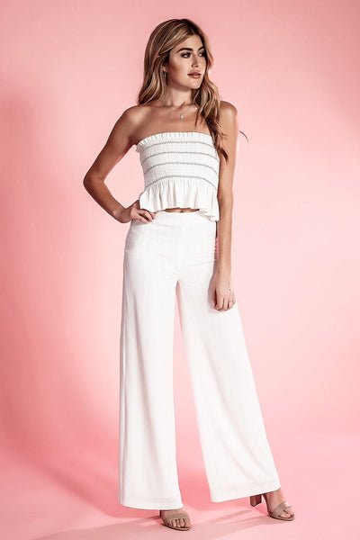 APOLLO WHITE & GOLD PINSTRIPE WIDE LEG TROUSER PANT