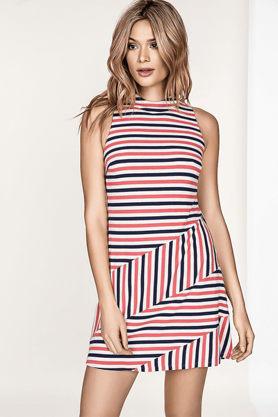 AVA A-LINE SLEEVELESS PINK & NAVY STRIPE KNIT DRESS