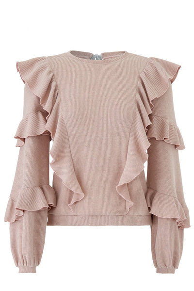 blush pink ruffle rib knit sweater with open back by Saylor - Spade Eleven