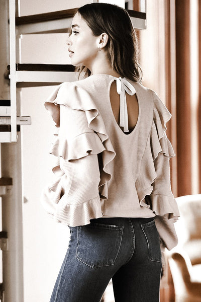 AVIAN OPEN BACK BLUSH RUFFLE SWEATER