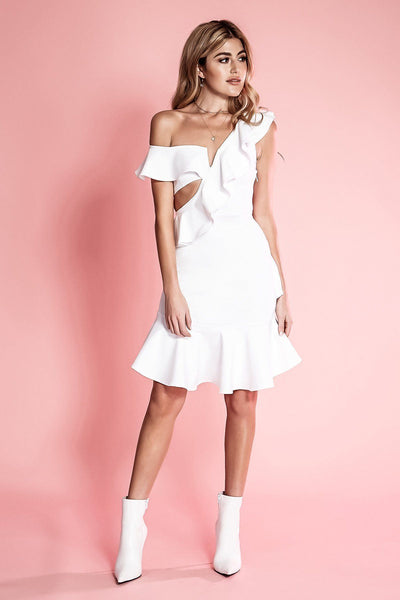 BELLA WHITE SLEEVELESS ASYMMETRIC RUFFLE CUT-OUT DRESS