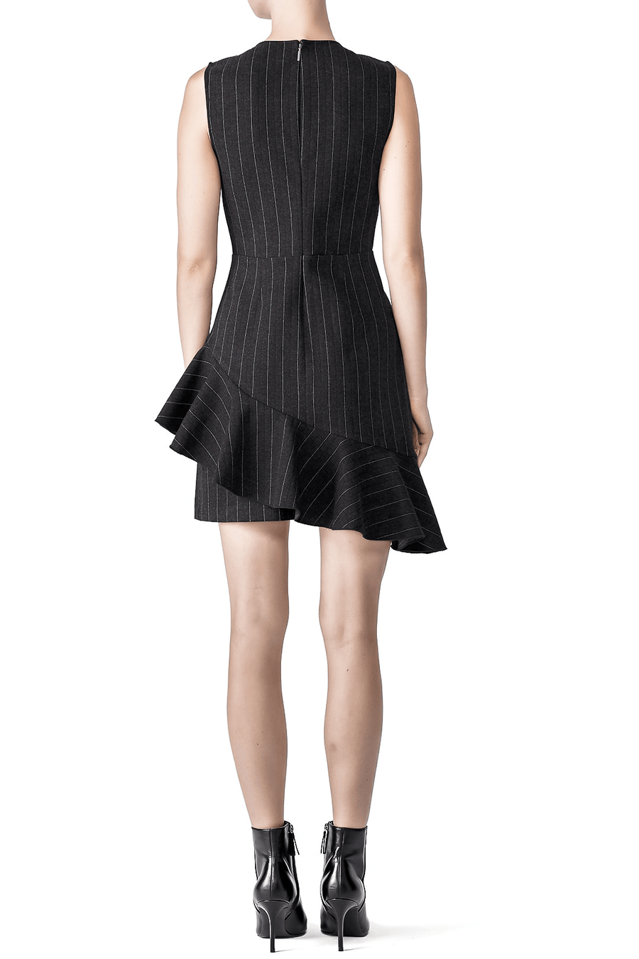 BETTIE BLACK PINSTRIPE SLEEVELESS RUFFLE DRESS