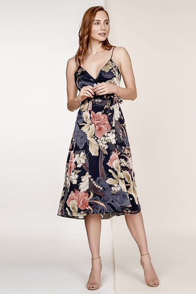CAITLYN FLORAL BURNOUT SILK SLEEVELESS MIDI WRAP DRESS